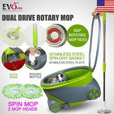 360° Spin Rotating Head Easy Magic Floor Mop Bucket with 2 Microfiber Heads