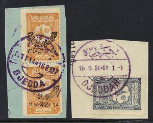 Arabie-Saoudite-1927-les-deux-types-Full-greves-de-Jeddah-en-Violet-sur-Hejaz-Nejd