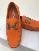 Men Giovanni Dress Shoes Loafer Casual Italian Slip-on Solid Orange White Stitch