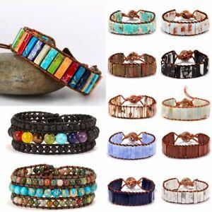 Vintage-Natural-Stone-Lava-Healing-Chakra-Tube-Bracelet-Bangle-Womens-Jewellery