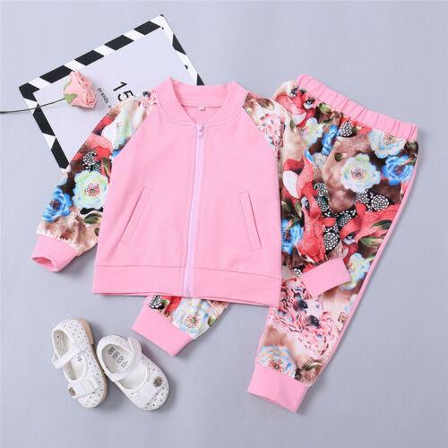 Kinder Mädchen Outfits Set Blumen Jacke Sweatjacke Bomberjacke Top Hose Kleidung