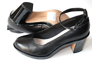 40 Ladies Shoes Clarks D Leather 5 Black 6 Tacones 0U06qx