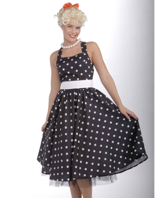 50's Cutie Black White Polka Dot Poodle Dress