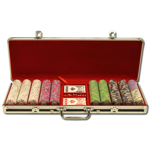 New 500 Milano 10g Clay Poker Chips Set with Black Aluminum Case Pick Chips!