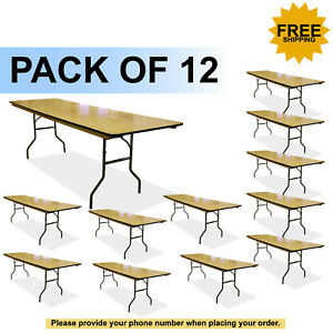Details About 8 Wood Rectangle Banquet Folding Table Price Is For 12 Tables Free Shipping
