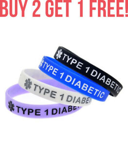 Diabetes-Type-1-Insulin-Medical-Alert-ID-Bracelet-Silicone-Wristband-Band-PD
