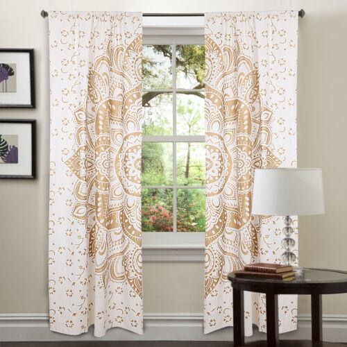 Indian Golden Mandala Window Curtains Hippie Wall Hanging Bohemian Door Decors