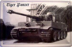 Tanque-Acorazado-Tigre-Letrero-de-Metal-Arqueado-Tin-Sign-20-X-30CM