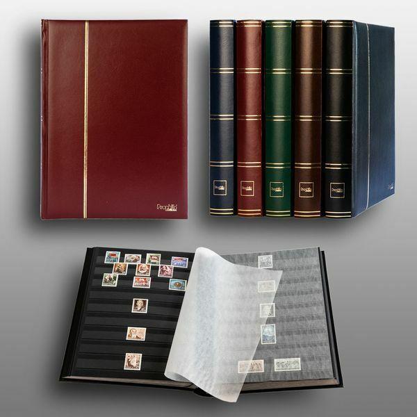 Album pour timbres, Leuchtturm/Prophila, 60 pages, intérieur noir (couv. rouge)