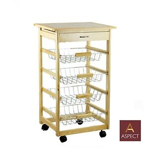Wooden Kitchen Trolley Cart With Baskets Drawer Tile Top Chopping Board Br097 Ebay