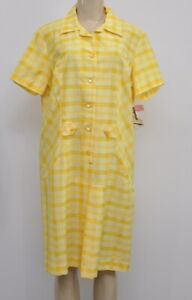 Vintage-1970-039-s-Sears-Yellow-Plaid-A-Line-Dress-Front-Pleat-Size-Medium-Large