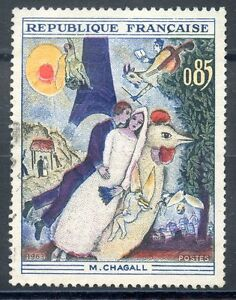 STAMP-TIMBRE-FRANCE-OBLITERE-N-1398-TABLEAUX-CHAGALL