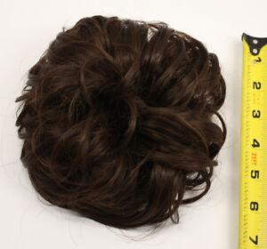 7/'/' Scrunchie Puff Elastic Chocolate Brown Cosplay Wig Hair Bun Accessory NEW