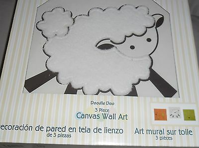 "Wall Décor Wall Hangings Lamb Duck Bunny Rabbits! Amicable Lambs & Ivy ""doodle Doo"" 3pc Canvas Baby Wall Art New"