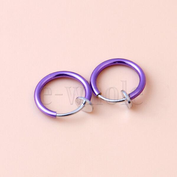 Painless Piercings Clip On Fake Joke Prank Rings Ear Nose Lip Rings Hoop 13mm 3O