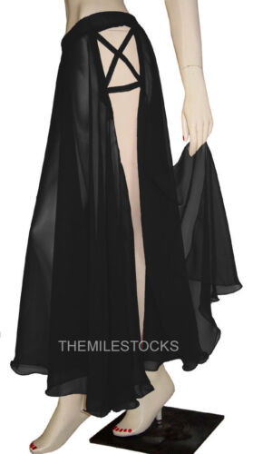 TMS BLACK Designer Slit Full Circle Skirt Belly Dance Tribal ROBE JUPE 25 CDSS