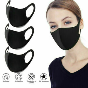 Face Mask Protective Black Breathable Anti Allergic Mouth Washable Reusable Uk Ebay