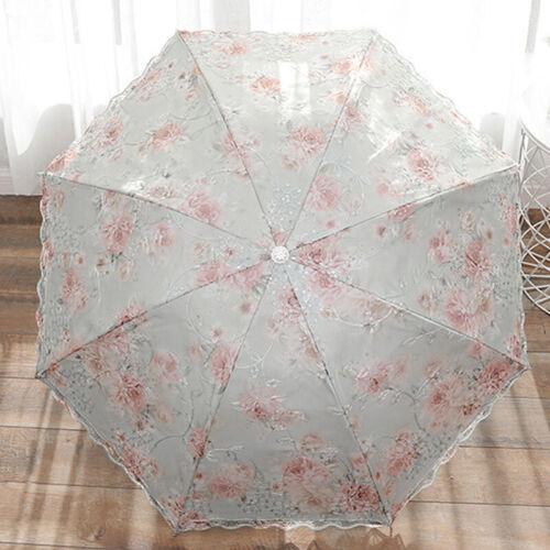 Umbrella Summer Lace Parasol 3 Folding Double layer Thickened Anti-uv Girls