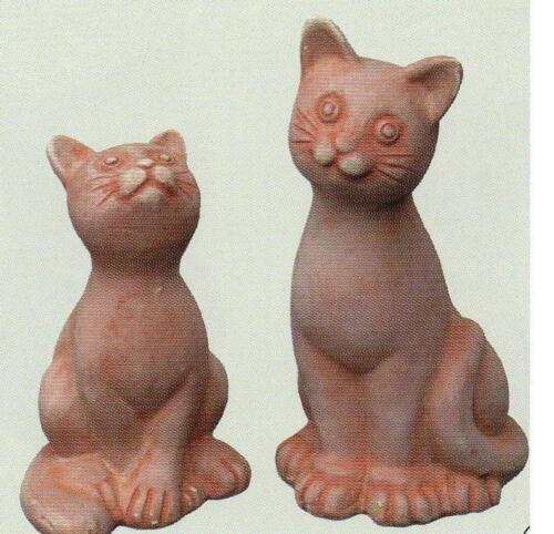 2 Terracotta Katzen süße Kätzchen Figur Katzen naiv  dickwandig 21//15 cm Höhe