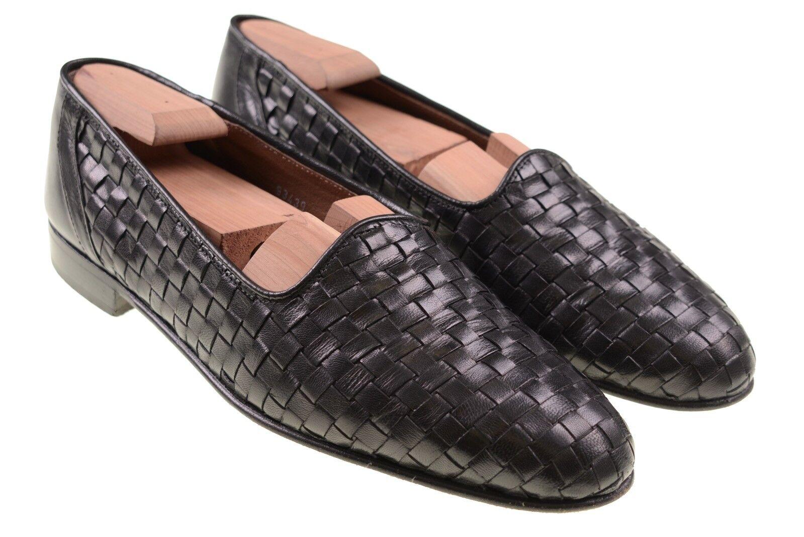 Brass bota Hecho En Italia Cuero Negro Tejido cestería Mocasines zapatos 10 D