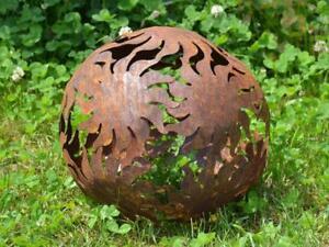 Dekokugel-Rost-30cm-Sonne-Deko-Kugel-Gartenkugel-Edelrost-Terasse-Garten