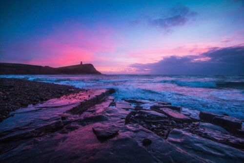 STUNNING PURPLE BEACH SUNSET CANVAS PICTURE POSTER PRINT WALL ART UNFRAMED #895
