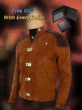Warriors Viper Pilota Battlestar Galactica marrone in pelle scamosciata Giacca-regalo gratuito OFFERTA!