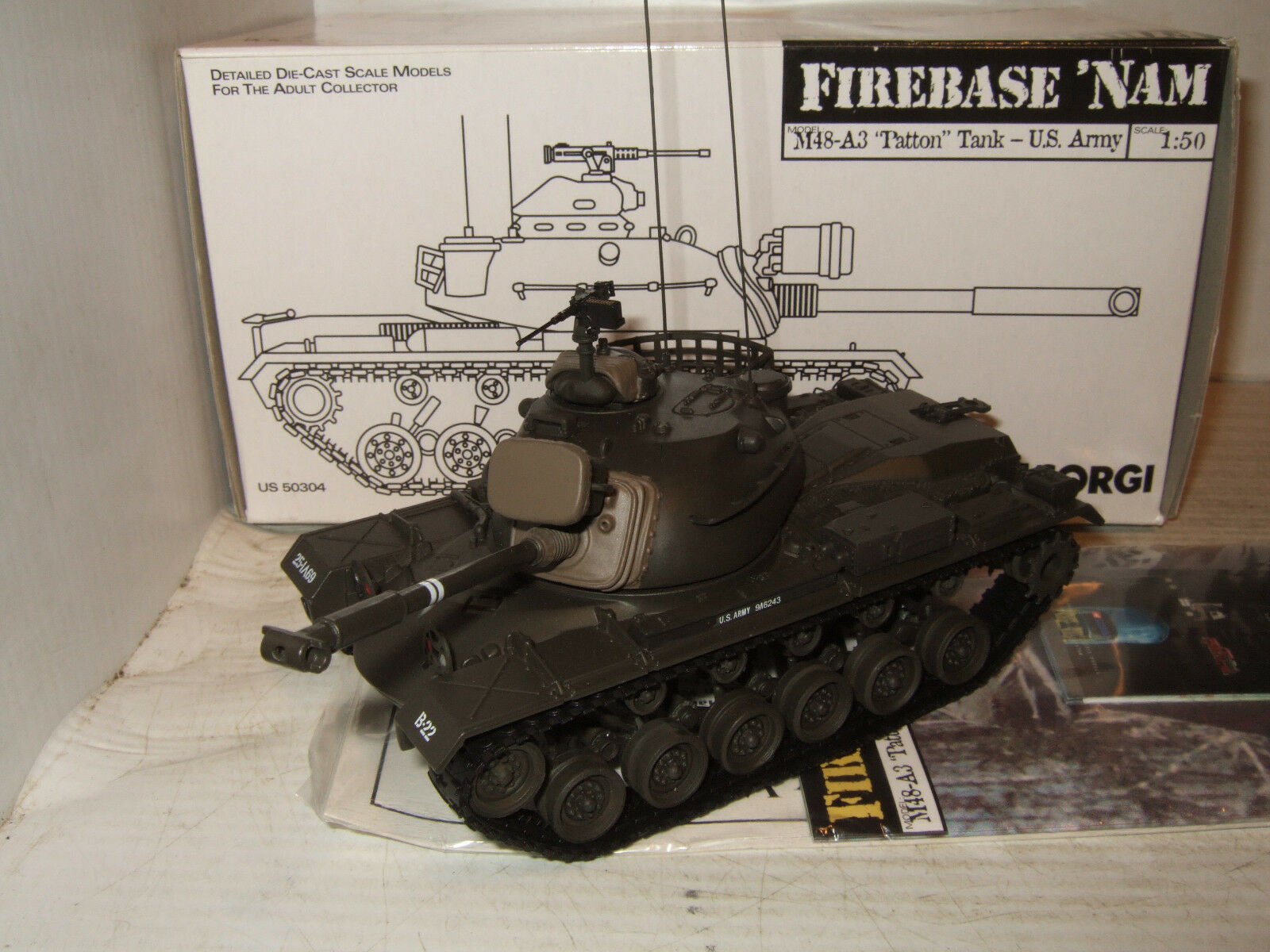 Corgi US50304 Firebase Nam, M48-A3 Patton Tank US Army in 1 50 Scale.