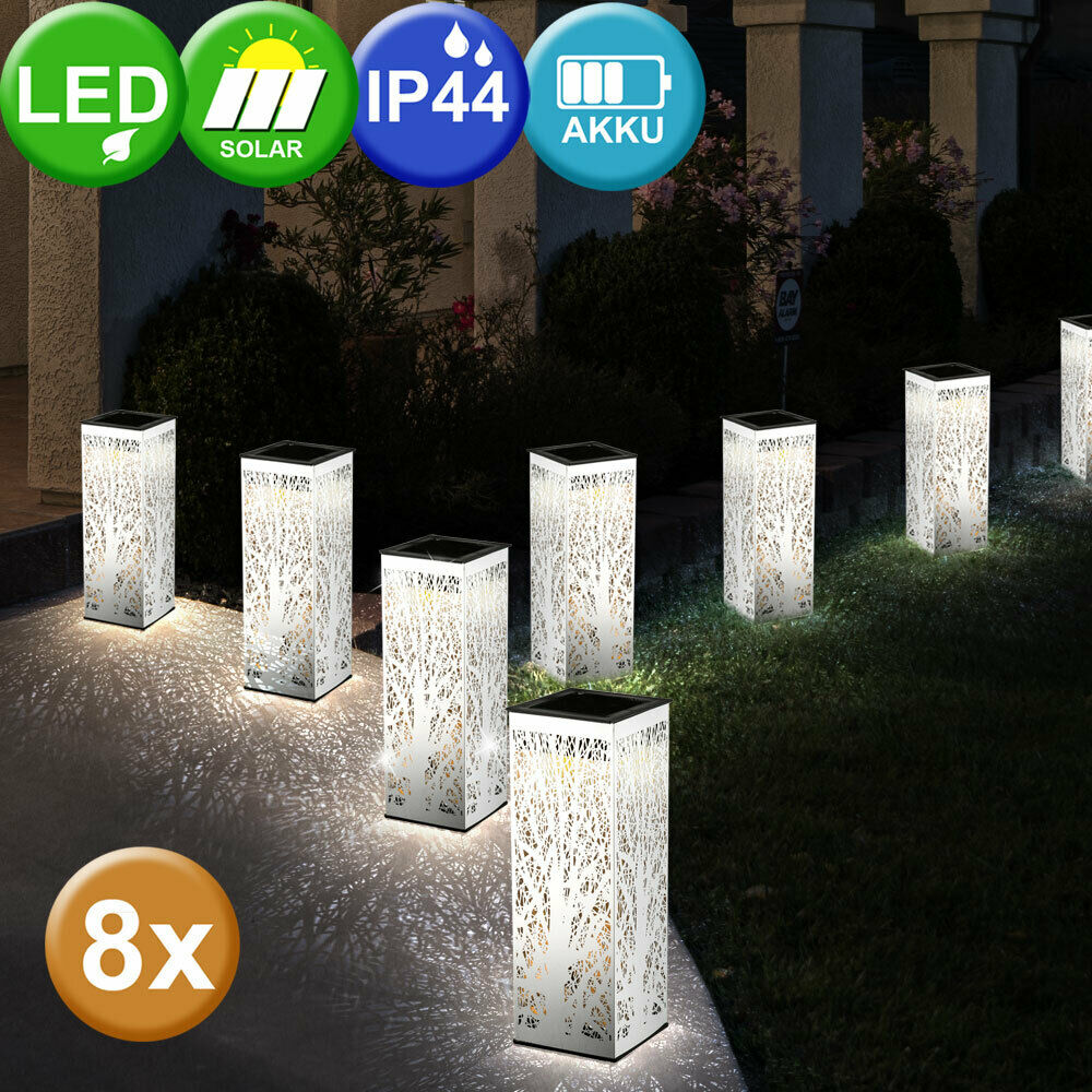 8x LED Solar Meter Lámparas Decoración Perforado de Acero Inoxidable Jardín Beet