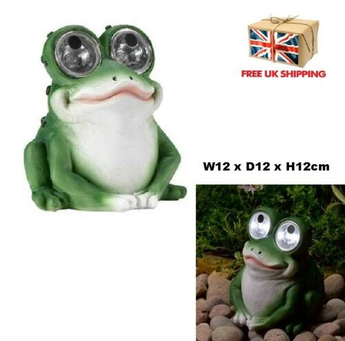 Solar Frog With Light Up Eyes Garden Patio Pond LED Ornament Decor Mothers Gift
