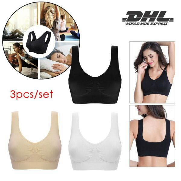 3pcs/set Seamless Sport BH Racerback Yoga Fitness Bustier Top Bra VI-DHL