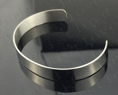 Men's High Polished Silver Tone Solid 316L Stainless Steel Blank Cuff Bangle hot