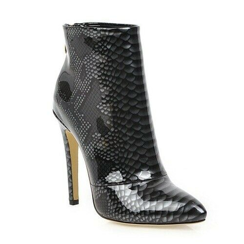 Details about  /Women/'s Boots Fashion Faux Snakeskin Pointed Toe Super High Heel Women Boots