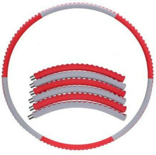 HULA HOOP FITNESS EXERCISE ABS WORKOUT GYM PROFESSIONAL WEIGHTED 6 PART-RED