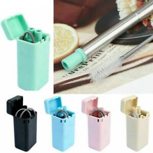 Reusable-Collapsible-Drinking-Straws-Stainless-Steel-Metal-Straw-Foldable-Brush