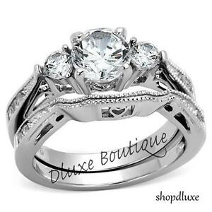 2-50-Ct-Round-Cut-AAA-CZ-Stainless-Steel-Wedding-Band-Ring-Set-Women-039-s-Size-5-10