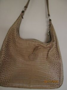 c767b0ee24cb Image is loading LONGCHAMP-Roseau-CROCODILE-EMBOSSED-CARAMEL-LEATHER-HOBO