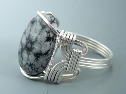 Sterling Silver Wire Wrapped Snowflake Obsidian Cabochon Ring
