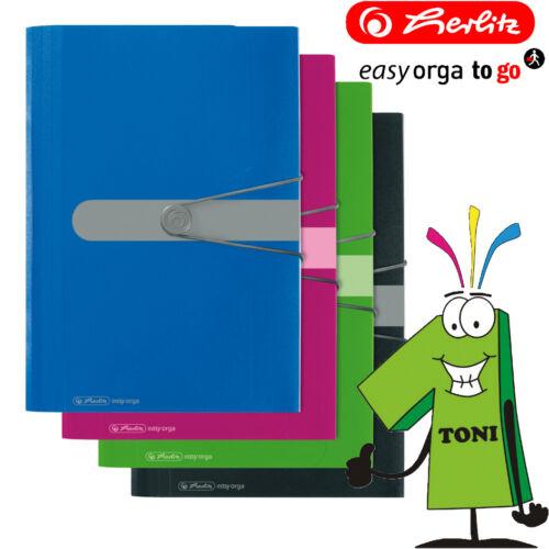 Herlitz Fächermappe Easy Orga PP A4 12tlg opak Ordnungsmappe mit Gummizug