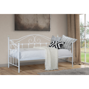 Modern Metal Day Bed 3ft Single Double Bed Frame Black White