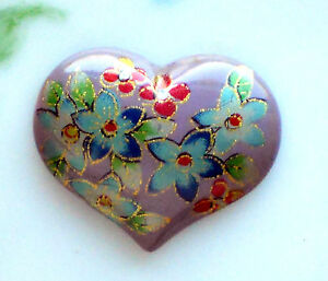 #1015A Vintage Heart Cabochon Blue Floral Cabs Flowers Red Oriental Asian Large