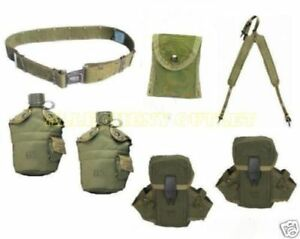 US Military LOT 2 Canteens 3 Ammo First Aid Pouches Suspenders M PISTOL BELT GC
