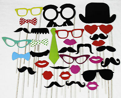DIY Multi-colored Card Paper Glass/Hat/Bow Tie/Lip/Mustache Photo Booth Props