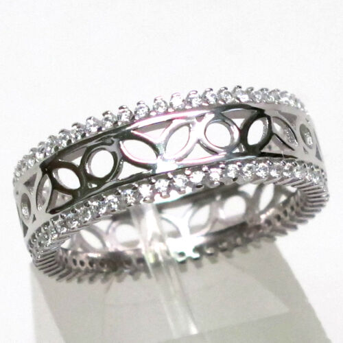 GORGEOUS WHITE 925 STERLING SILVER BAND RING SIZE 5-10