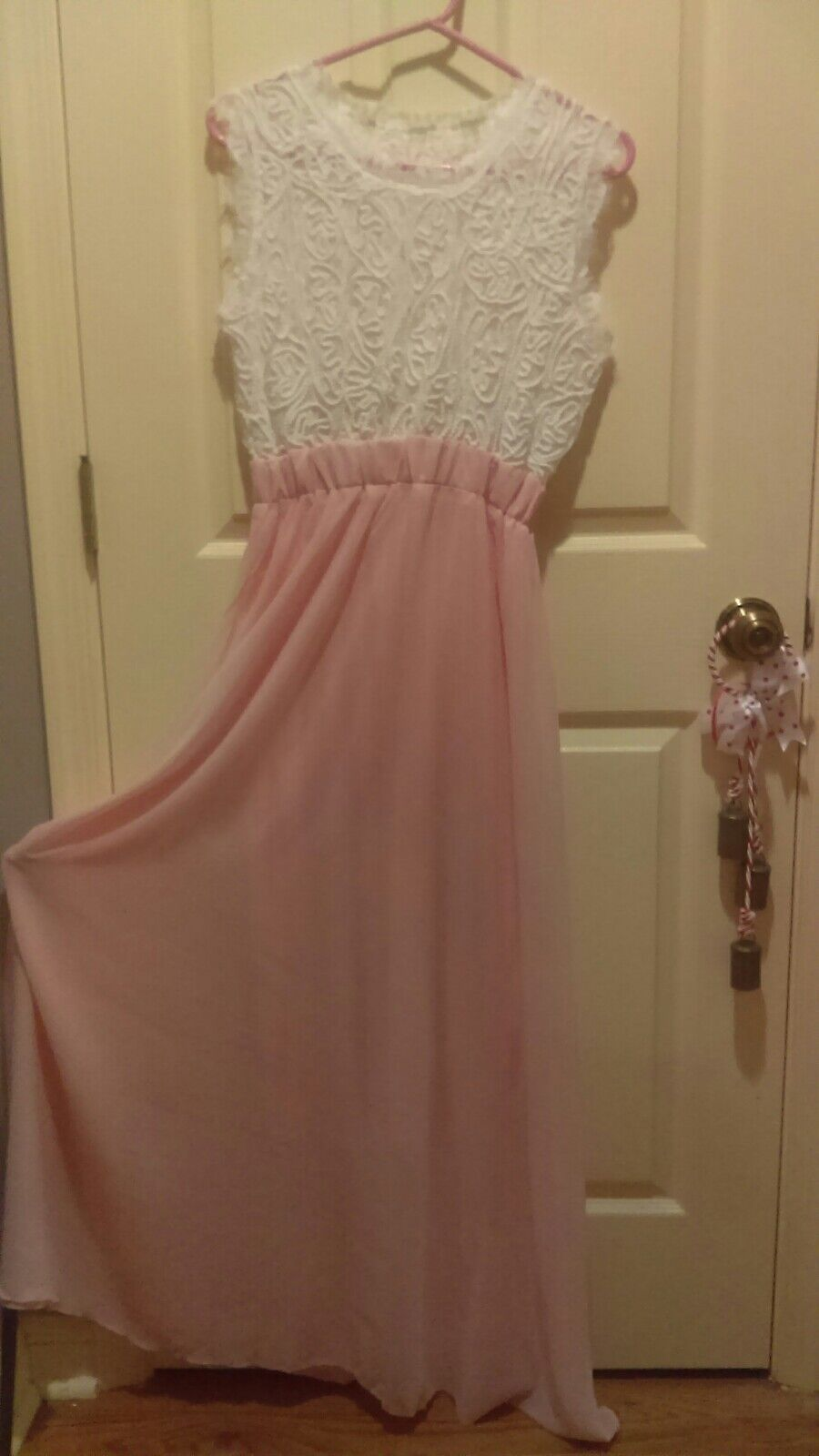 Ladys Lace top Brides Maid long elegant flowing Evening / Party / Wedding dress