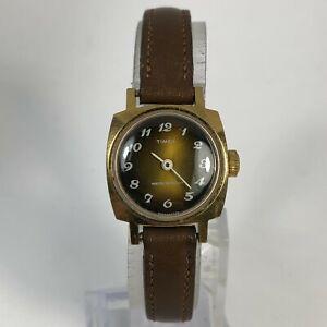 Read Timex Womens 1975 Brown Leather Band Quartz Analog Wind Up Wristwatch