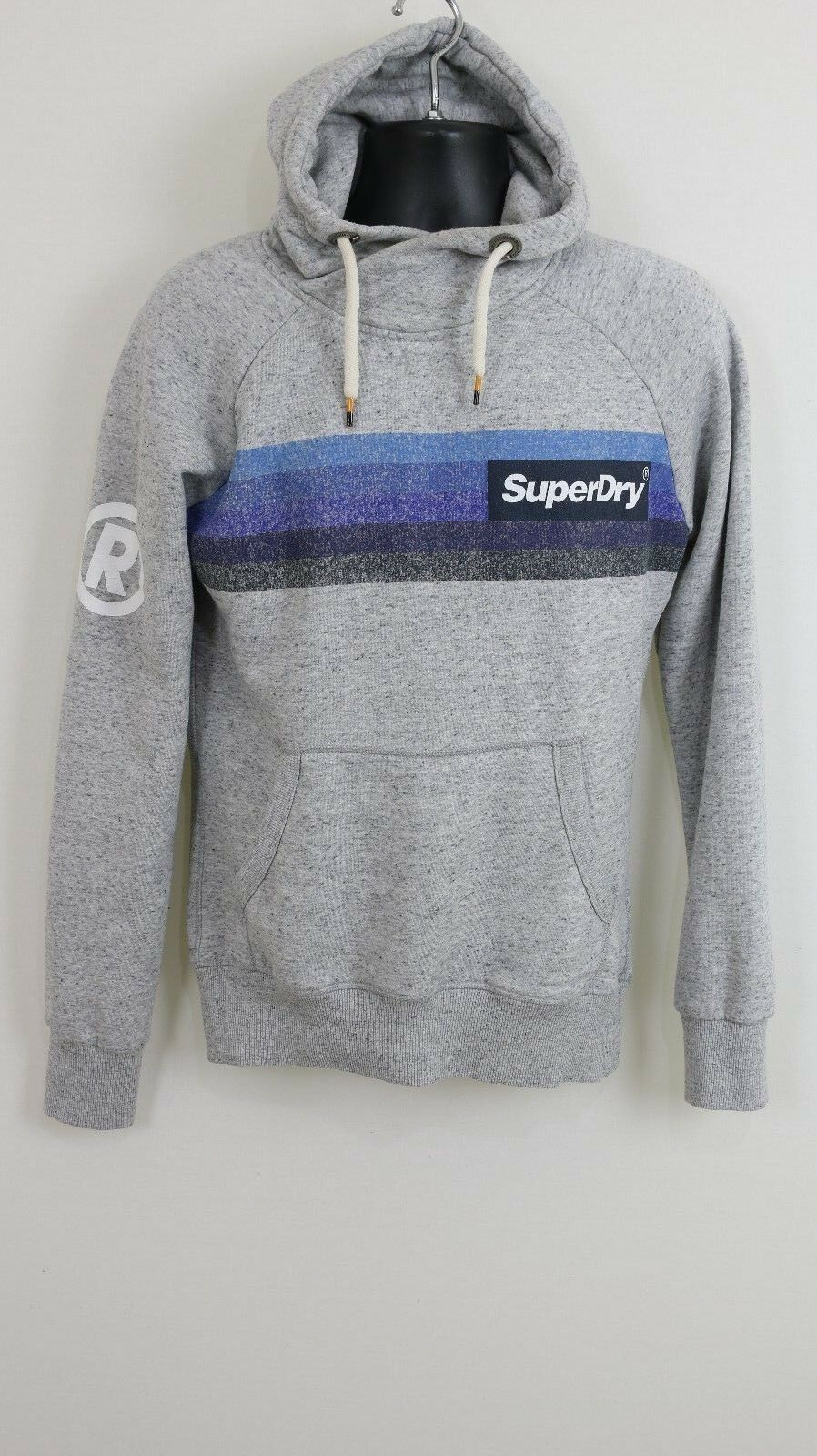Superdry UNISEX grau Hoodie With Chest Stripe Logo Print UK Größe SMALL