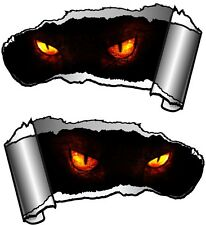 Small Pair Ripped Open Metal Rip GASH Evil Demon Eyes Horror Car Sticker decal
