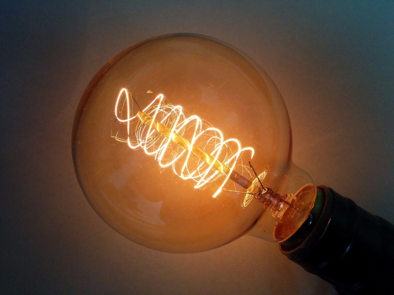 (4 PK)Simple Vintage G80 Edison Light Bulb 40W Antique Retro Tinted Globe Spiral