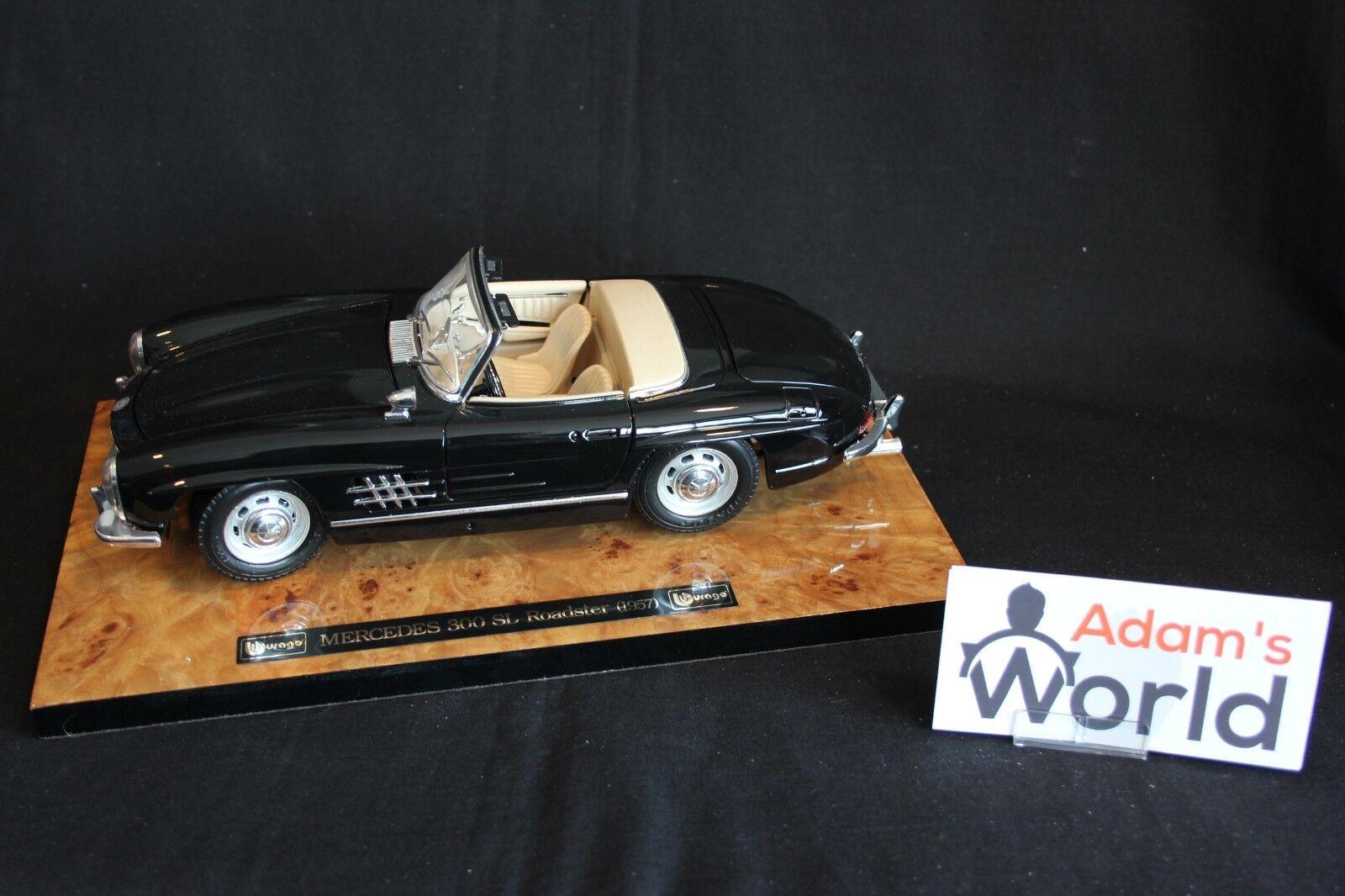 Bburago Mercedes-Benz 300 300 300 SL Roadster 1 18 negro on wooden plate (JS) fd41a3